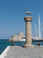 where the colossus never stood: the entrance to the rhodes harbor.